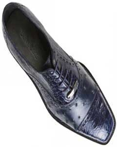 """Onesto II"" Navy Genuine Ostrich / Crocodile ~ World Best Alligator ~ Gator Skin Shoes"