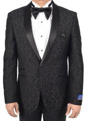 Super 150s Viscose Blend 1 Button Black Tuxedo Modern Geometric Pattern