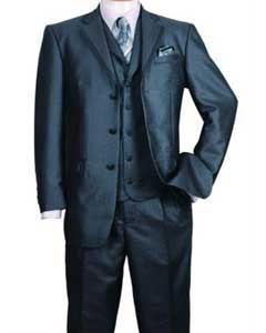 Black 3 Button Fashion Suit Edged Notch Lapel Jacket w/ Pants Vest Set