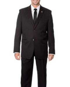 Black with Red Stripe ~ Pinstripe 3-piece Vested Suit