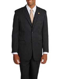 Adams Mens Black/White Stripe 3-piece Suit