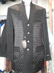 Black Patterned Mandarin Collar 4 Buttons Suit