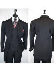 2917v Mens Black Wide Notch Lapel 6 Paired Buttons Matching Vested Zoot Suit - Pimp Suit -