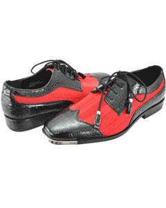 Mens Black And Red Two Tone Dress Shoes Satin WingTip Lace