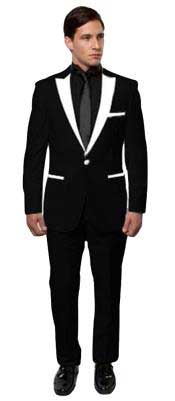 Mens Black And White Lapel Tuxedo Two Toned Velvet Fabric