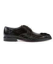 Mens Topo Lizard Caiman World Best Alligator ~ Gator Skin Black Oxfords Belvedere Shoes