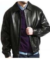 Classic Baseball Leather Big and Tall Bomber Jacket In A Soft Lambskin Black