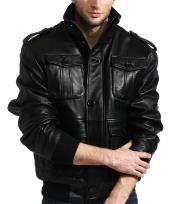 Mens Military Meets Safari Bomber In 100% Soft Authentic Lambskin Leather