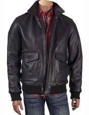 Inserch Mens Long Sleeve Zipper Closure Black Leather Bomber Jacket