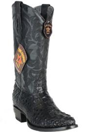 Los Altos Handcrafted Round Toe Genuine Caiman Hornback Black Boots