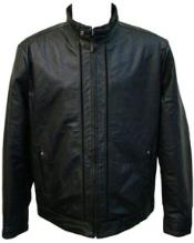 Black Buckle Collar Lamb Leather Racing Jacket