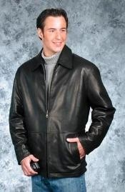 Mens contemporary casual Black Leather Big and Tall Bomber Jacket