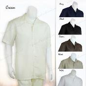 2 Pieces Mens Casual Solid Color Linen Shirt and Pants Set Casual