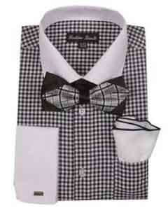 Mens Checks Shirt French Cuff With White Collared Contrast  High
