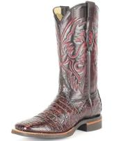 King Exotic Wide Square Toe Black Cherry Genuine Smooth Caiman Boots