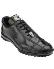 Authentic Genuine Skin Italian Paulo Black Genuine Ostrich / Soft Calfskin Leather Casual Dress Sneaker