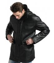 Mens Black Pebble-grain Long Jacket Mens Carcoat ~ Designer Mens Wool Mens