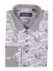 Mens Floral Pattern Black Classic Fit Cotton Blend Standard Cuff Shirt