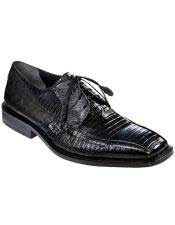 Black Genuine Teju Lizard Los Altos Oxfords Style Dress Shoes