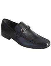 Mens Slip On Loafer Black Genuine Full Deer Skin Los Altos Dress Shoes