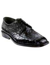 Black Genuine Ostrich Los Altos Oxfords Style Dress Shoes