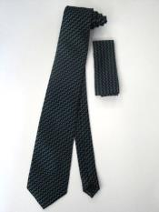 Tie Set Black W/ turquoise ~ Light Blue Stage Party And White Polka Dot Design