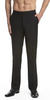 Dress Pants Trousers Flat Front Slacks Black