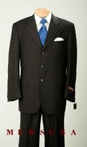 Nicest Jet Black On Black With Sheen tone on tone Shadow Pinstripe 2/3 Button Notch Lapel Side
