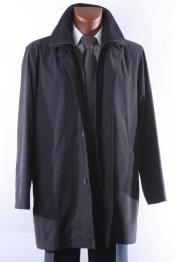 Mens Dress Coat Black Three Quarter Length All Year Round Raincoat-Trench