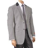 Mens Black/White Hounds Tooth Elbow Patch Sport Jacket