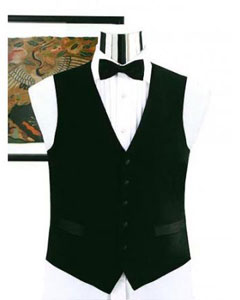 Simple Black Not Shiny Tuxedo Vest