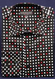 Fancy 100% Cotton Dress Fashion Shirt With Button Cuff Black / Red Mens Dress Shirt
