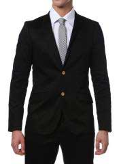 Suit Mens Black Cotton Skinny Fit Cheap Priced Business Suits Clearance
