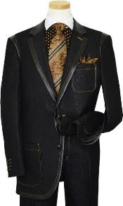Black Denim Iridescent Suit With Rust Hand-Pick Stitching 100% Cotton Cheap