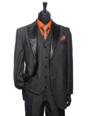 Black Denim Tuxedo 3 Piece Suit