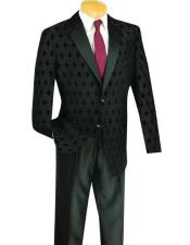Shawl Lapel Plaid ~ Windowpane Dinner Blazer & Sportcoat Jacket Black