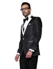 Mens Black Paisely Patten Wool Modern Fit Vested Suit on Sale