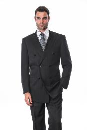 BLACK ON BLACK DOUBLE BREASTED SUITS Mens SUIT WITH Stripe ~ Pinstripe
