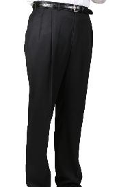 Dacron Polyester Black Somerset Double-Pleated Slacks / Dress Pants Trouser