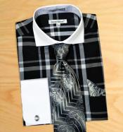 Plaid Pattern Dress Fashion Shirt/ Tie / Hanky Set White Collar Two Toned Contrast With Free Cufflinks