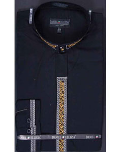 Mens collarless Dress Shirt Fancy Stitched Banded Collar Embroidery