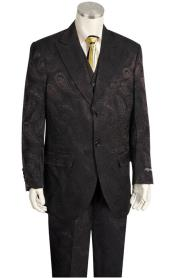 Canto Urban Wide Leg Black Olive Paisley Fashion Suit Blazer Looking