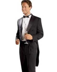 Mens Black Tailcoat with Matching Formal Trousers Tuxedo Jacket with the tail