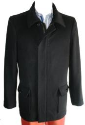 Mens Dress Coat  4 Button with Zipper Black Designer Mens Wool