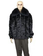 Fur Black Genuine Mink Full Skin Fox Collar Jacket