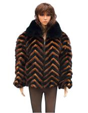 Black/Whiskey Chevron Mink Jacket with Black Fox Collar Jacket