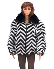 Black/White Chevron Mink Black Fox Collar Jacket