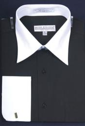 Daniel Ellissa Bright Two Tone Solid French Cuff Black Dress Shirt
