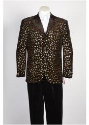 Mens Black Gold Fashion Paisley Floral Blazer Sport Coat Jacket