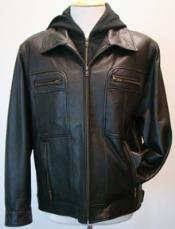 Black Removable Hood Lamb Leather Zip Big and Tall Bomber Jacket